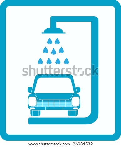 blue sign with car wash image