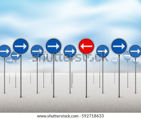 blue signs with arrows pointing