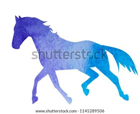 blue silhouette horse running