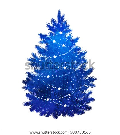 blue silhouette of christmas