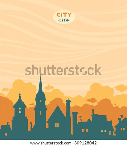 blue silhouette of city on a