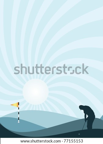 Blue silhouette of golfer playing at sunset, with rolling hills and sunburst sky