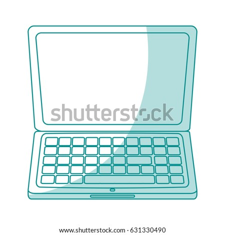 blue silhouette shading laptop computer tech device