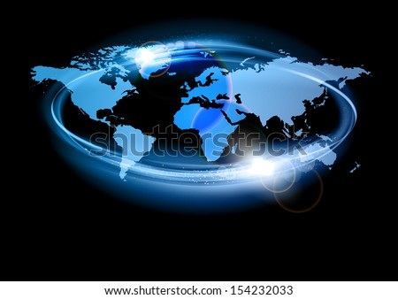 blue silhouettes of world map in the abstract circle