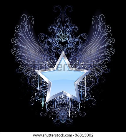blue, silver star with angel wings outline, decorated with a drop of blue paint and a fancy pattern. - stock vector