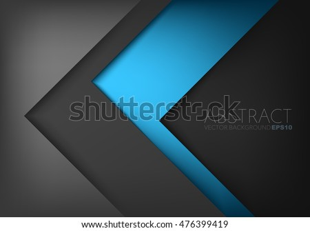 Blue Silver triangle vector background arrow angle paper layer overlap on black space for text and message artwork background design