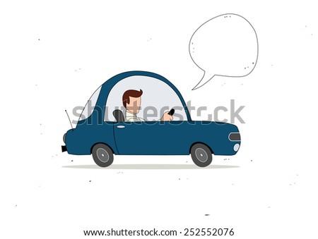 blue simple cartoon car driver