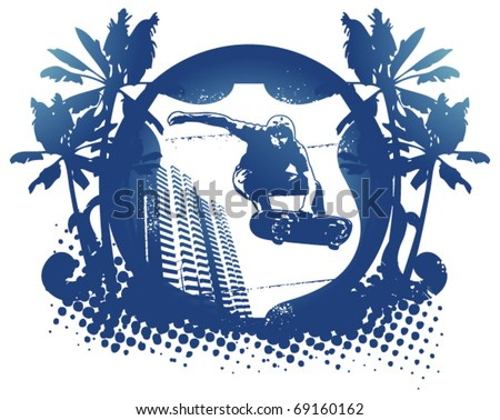 blue skate shield with palms and city background