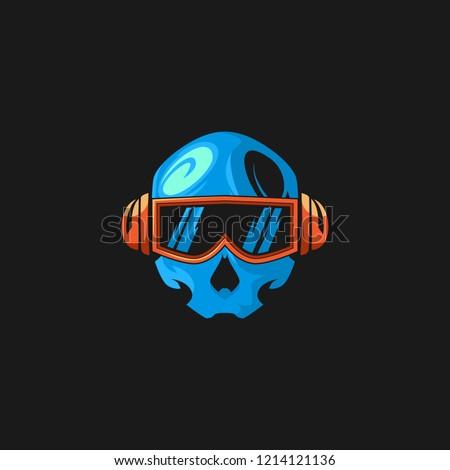 blue skull head gaming logo