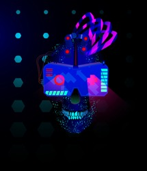 Blue Skull in the face with glasses of virtual reality with mechanical devices on the face with neon light in the style of cyberpunk