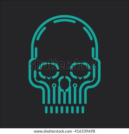 blue skull vector design on