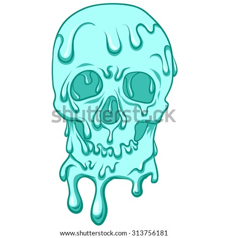 blue skull with ice creamwhite