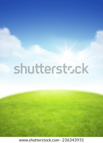 blue sky and field of green