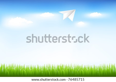 Blue Sky And Paper Plane, Vector Illustration