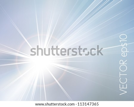 Blue sky and sun abstract background