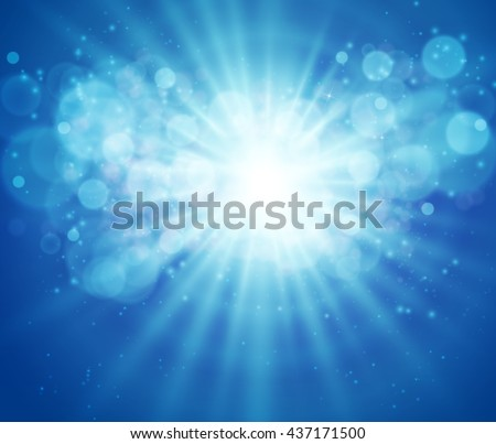 Blue sky and sun. Realistic Blur Design With Burst and Rays. Abstract Shining Background. Vector illustration