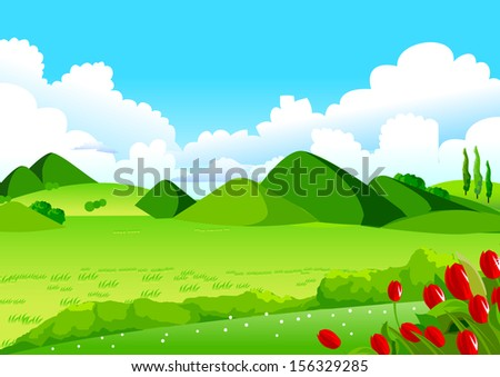 Blue Sky, Green Fields and Distant Hills.