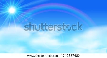 blue sky  rainbow  sun sunshine
