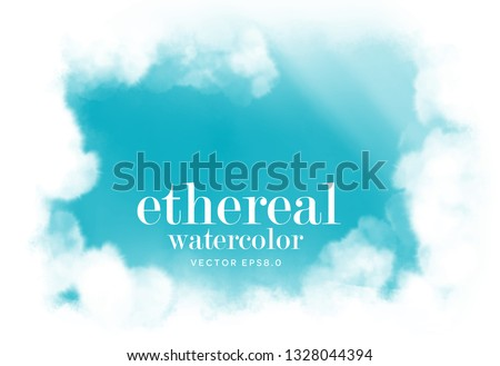 blue sky surrounded by soft clouds on white background. cloudscape water color vector illustration. abstract cyan ethereal wall paper. eps 8