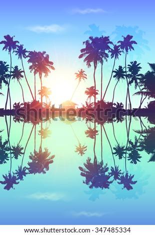 blue sky vector palms