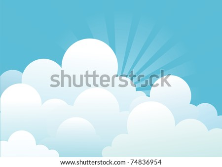Blue sky with beautiful clouds.Vector image