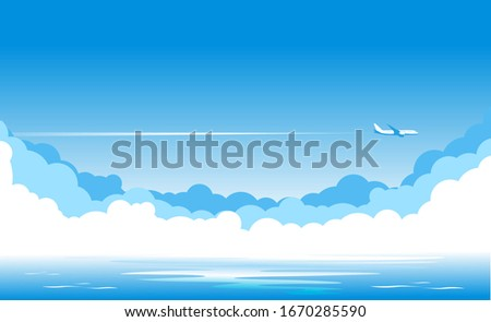 Blue sky with clouds and an airplane flying over yellow sandy desert. Airliner over an oasis in desert with palm trees. Illustration, vector stock photo
