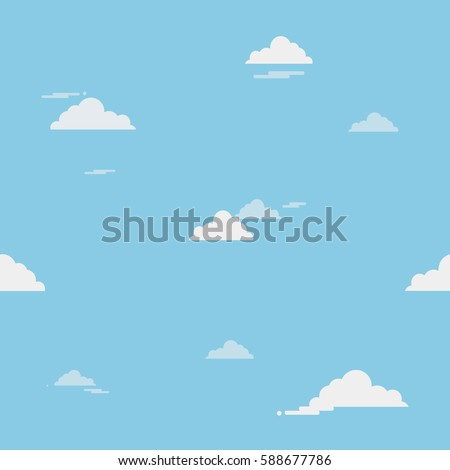 Blue sky with clouds on the shiny day, seamless background. Vector illustration.
