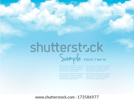 Shutterstock Blue sky with clouds. Vector background