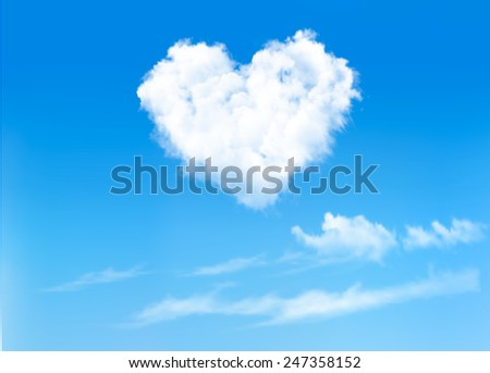 blue sky with hearts shape