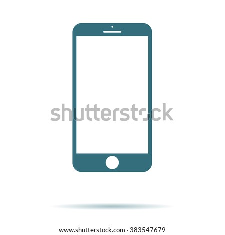 Shutterstock Blue Smartphone icon with isolated blank screen. Modern simple flat telephone sign. Internet concept. Trendy vector phone display symbol for website design web button, mobile app. Logo illustration