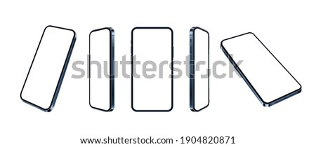 Blue smartphone realistic mockup, set of different angles mobile phone isolated. Blank screens for present app or web design. 3d cellular concept on white background, vector illustration.