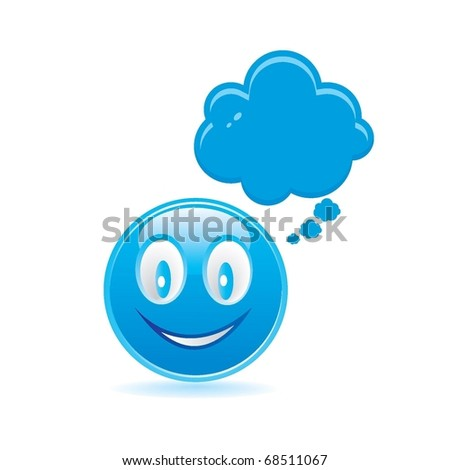blue smiley with bubble
