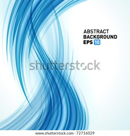 Blue smooth light lines vector background. Eps 10.