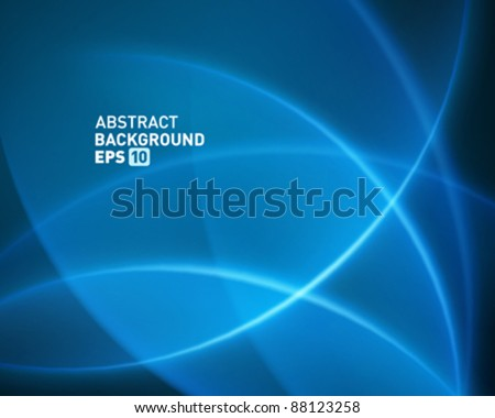 Blue smooth twist light lines vector background. Eps 10.