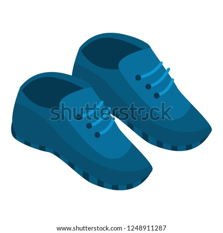 Blue sneakers icon. Isometric of blue sneakers vector icon for web design isolated on white background