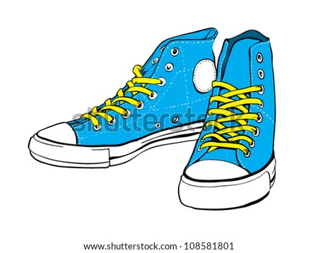 Blue sneakers with yellow lace