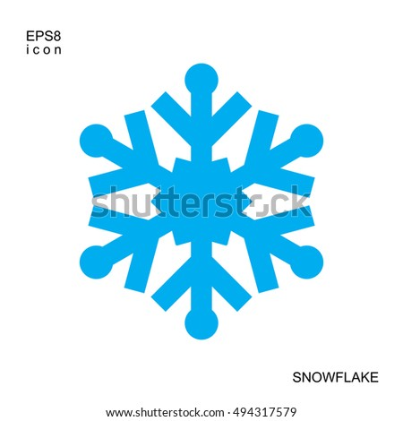 blue snow flake winter vector icon minimal vector snowflake