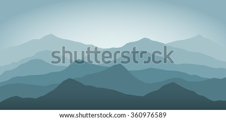 blue snow mountains at dawn