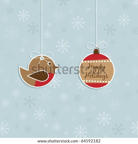 blue snowflake background with christmas hanging decorations