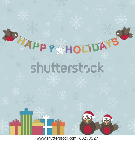 blue snowflake background with christmas robins and decorations