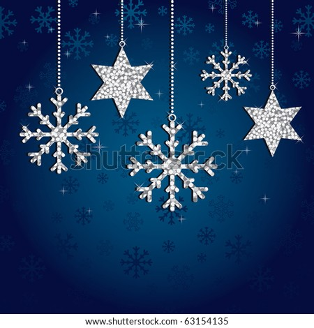 blue snowflake background with silver glitter decorations