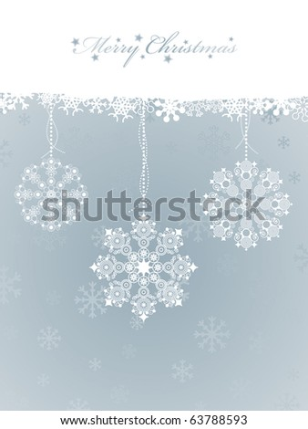 blue snowflake christmas background with decorations and banner for text