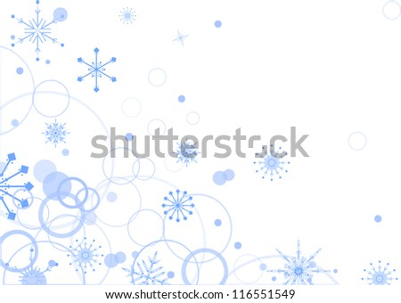 blue snowflake corner on white background