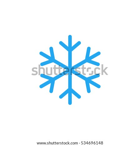 blue snowflake flat icon snow
