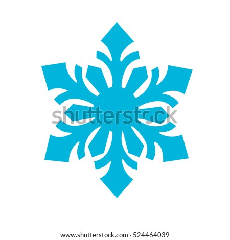 blue Snowflake Icon. Winter background