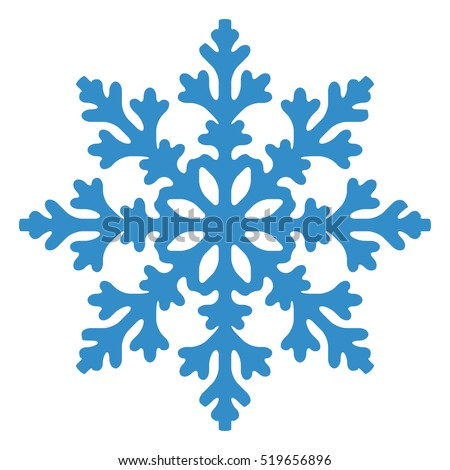 Blue Snowflake isolated on white background. Vector illustration.