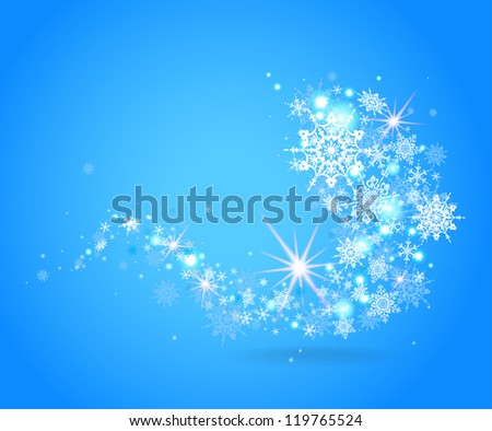 Blue snowflakes design with space for text - stock vector
