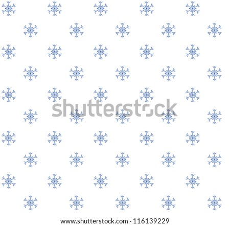 Blue snowflakes on white background. Seamless pattern - stock vector