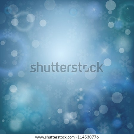 Blue Snowy Abstract Winter Template with place for text