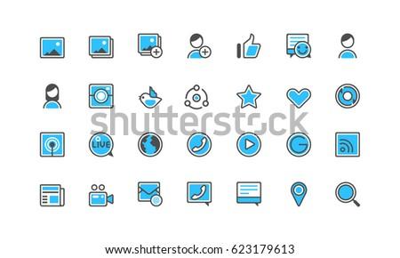 blue social vector icon